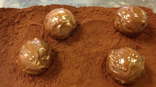 caramels in cocoa powder