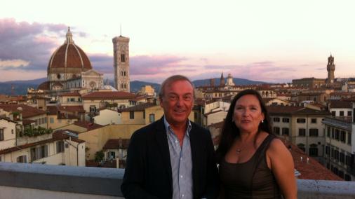 Monica Meschini with Leonardo Tozzi on the terrace of Palazzo Gaddi, Florence.