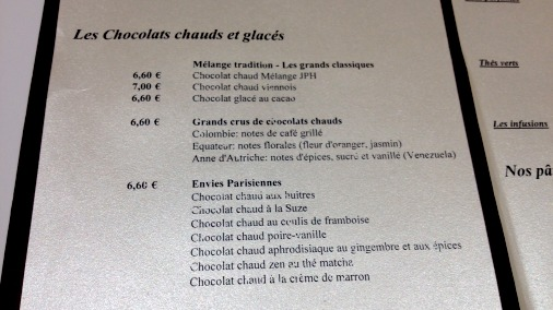 The hot chocolate menu at the Rue St Honore.