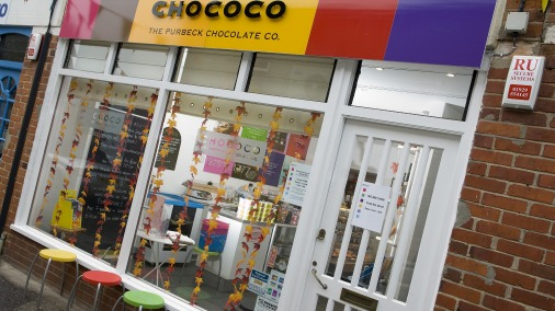 The exterior of Chococo's Swanage Shop.