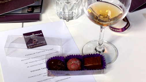 Roasted almond and honey caramel, far left, was well paired with the white port.