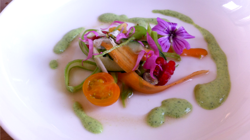 Vegetables from the garden, grand cru vinegar, herb and yoghurt dressing.