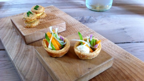 Parmesan and Ashmore biscuits, and mini vegetable tarts.