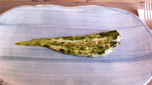 Slip sole grilled in seaweed butter.