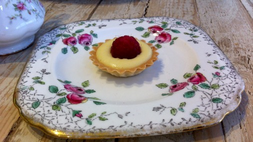 Raspberry tart with creme patissiere.