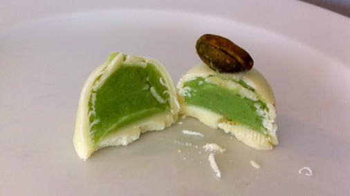 White chocolate with pistachio.