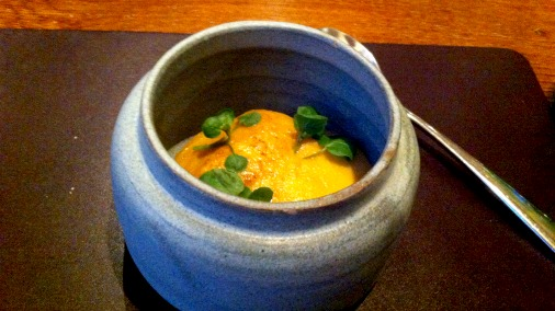 Glazed langoustine, carrot, watercress.