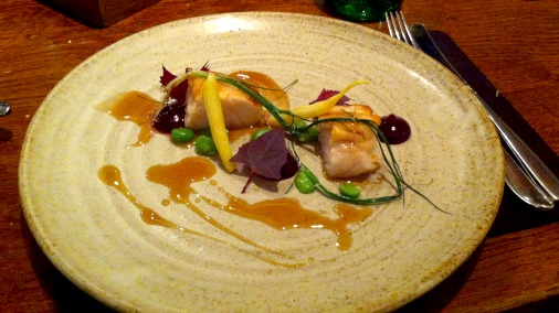 Butter poached hake, beetroot, leek, elderflower.