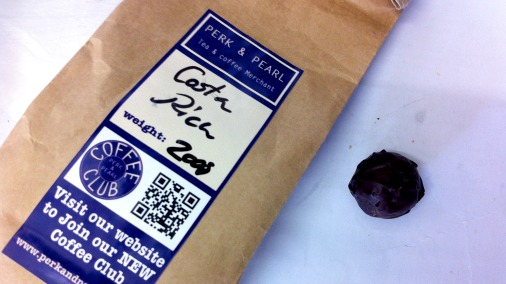 A collaboration with Perk & Pearl, the coffee, and the resulting truffle.