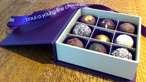Paul A Young fresh chocolates, there are lots of seasonal new flavours.