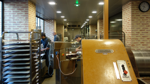 The workshop where the chocolate begins to be turned into chocolates.