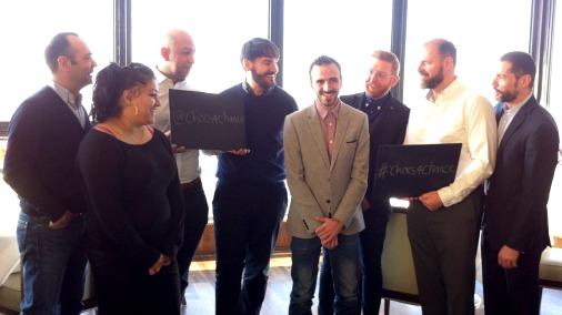 From left: Jose Pizarro, Kamal Manhas, Chris Mackett from the Hand & Flowers, Eric Lanlard, Marinos Kosmas of Duck & Waffle, Paul A Young, Chris Galvin & Fred Sirieix