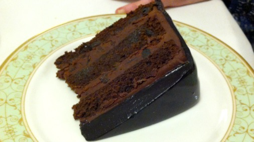 Chocolate and prune cake, in honour of sponsors Valrhona & The California Prune Board. Yes please!
