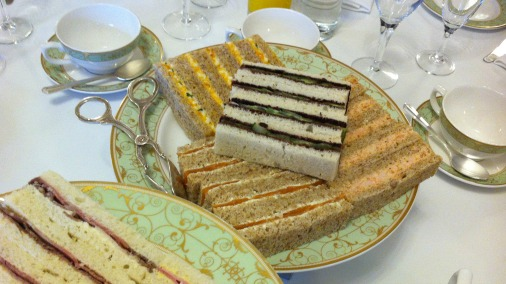 Sandwiches, chocolate afternoon tea style.
