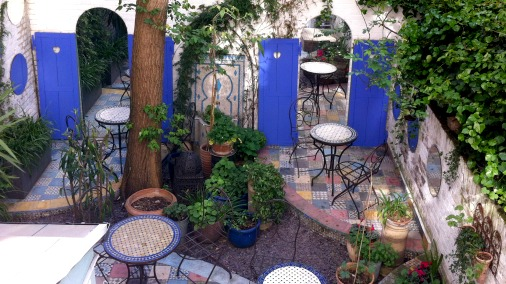 The lovely Moroccan garden at Motcomb Street