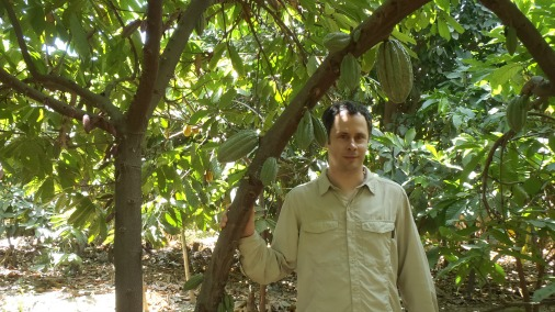 Franck on a cocoa plantation, the site of much learning.