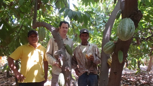 Franck with some of the cocoa farmers he works with.