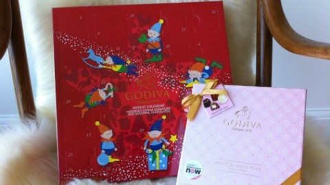 Godiva advent calendar in festive red.