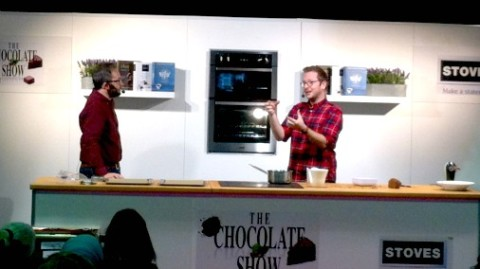 Edd Kimber on stage at The Chocolate Show, London.