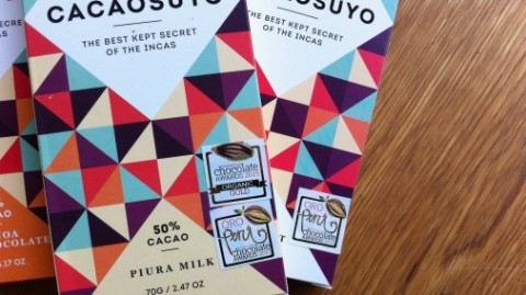 Cacaosuyo's gorgeously packaged bars, proudly dislaying ICA medals.