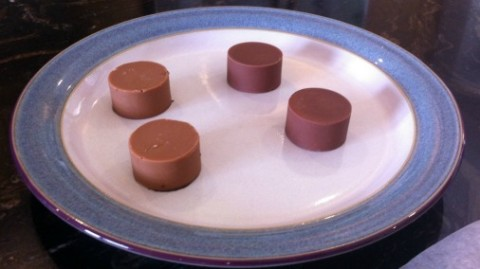 The same Almond & Mandarin praline made with two contrasting milk chocolates.