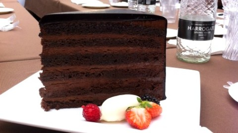 Gigantic chocolate cake.