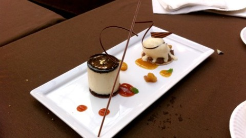 White chocolate mousse with spiced orange jelly