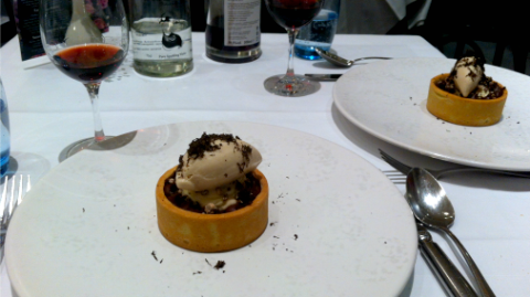 Chocolate tart by Tom Duffill at Galvin's Bistrot de Luxe using Chocolaterie Morin chocolate