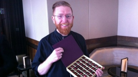 Paul A Young with some of his Chocs for Chance Valentine's creations.