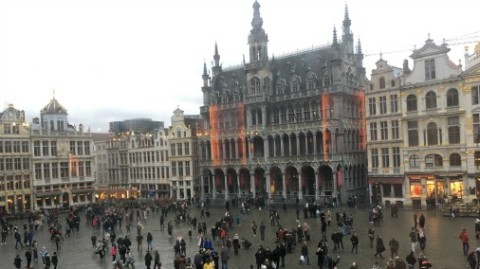 The glorious Grand Place, where we were lucky enough to be located.