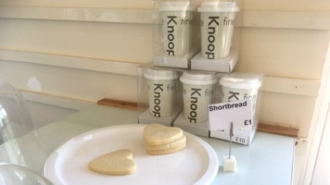 Shortbread, and ceramic cups for if you decide to become a regular!